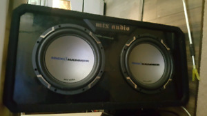 "Mtx box two 10"" jack hammer comp subs alpine 700w amp and capaci"