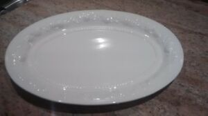 Large white oval ceramic platter for the holidays