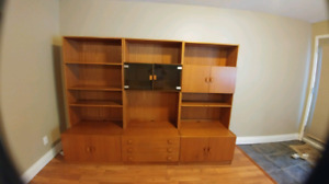 Solid teak wall unit for Sale
