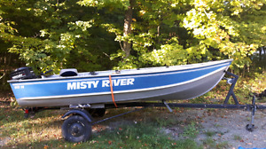 Misty river 14 ft aluminum boat 20 hp merc, and trailer