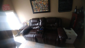 Faux leather dual recliner