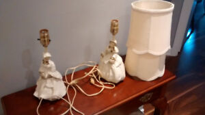 Vintage Pair of small ceramic Victorian lady lamps.