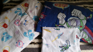 Buzz lightyear comforter and flat sheet and blues clues blanket