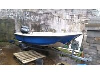 14ft dory with Yamaha 60hp outboard and trailer