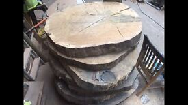 english oak rounds to make tables desk display stand etc