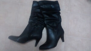 brand new black leather heeled boots