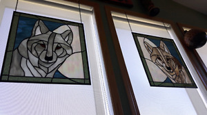 Wolves stained glass