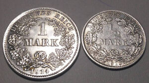 German 2 silver coin 1/2 mark 1913 A and 1 mark 1914 D