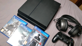 PlayStation 4 1TB with games, controller and headset
