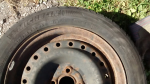 OLD 4 WINTER TIRES WITH RIMS 195/55R15, $60 for all 4 of them