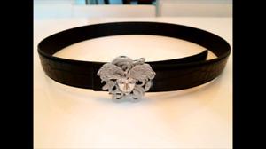 Versace Silver Winged Medusa Belt Buckle, Crocodile Skin Leather