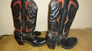 Black and red  boots with stirrups