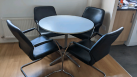 Leather chairs and table