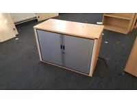 8 X stationary cupboards tambours with filers or shelves. Delivery