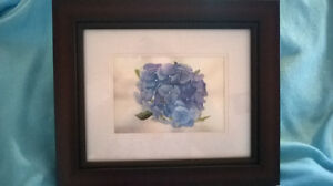 Water color --framed painting -Blue Flowers