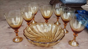 7 wine glasses and matching bowl