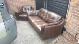FREE DELIVERY!!LEATHER 2+1 SEATER SOFAS