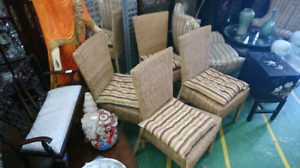 Set of 4 wicker chairs.