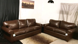 ~ Designer new ex display real leather brown 3+2 seater sofas