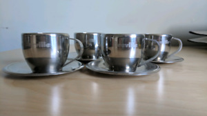 4 Tasses & soucoupes Breville Espresso Stainless cups and saucer