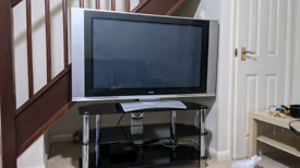 """43"""" TV remote controlled rotating screen and matrix glass TV unit"""