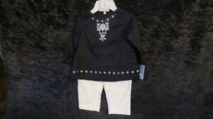 New Baby Girl Carter's Black Top & White Pant Size 6 Mths