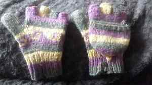 Knitted Tribal Fingerless Gloves w/mittens Now $15