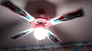 Awesome Coco Cola Ceiling Fan with 3D logos on wings