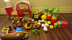 A pile of toddler toys
