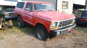 1978 Bronco Parts Vehicle.Rims,Tires and springs taking.