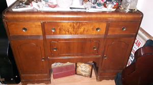 Antique walnut buffet $80