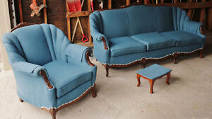 Beautiful Vintage Teal Sofa and Chair