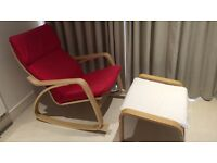 """IKEA """"poang"""" rocking chair and footstool"""
