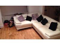 Leather cream corner sofa