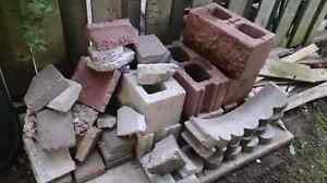 7 Textured Cinder Blocks, Scalloped Edging and Rubble