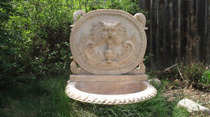 Beautiful Large Hand Carved Italian White Marble Wall Fountain