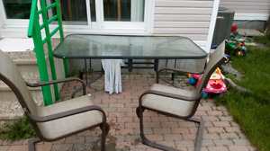 Patio set: table and 2 armchairs