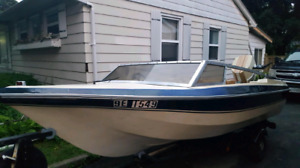 16 ft Steury Craft boat motor and trailer