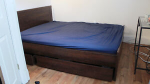 IKEA Queen Brusali bed frame with 3-drawer storage