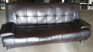 futon cuir brun