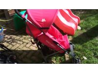 Girls pink Maclaren triumph umbrella folding pushchair buggy stroller Pram