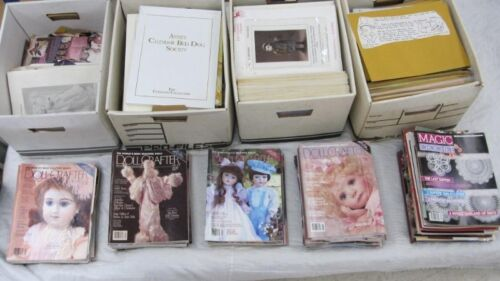 HUGE lot 5 Boxes 60 Pounds of Assorted Doll Patterns Periodicals magazines Books
