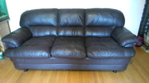 Leather couch dark brown