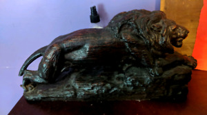 Wood hand carved Lion