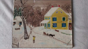 """Folk painting French Canada Acadian signed 14""""x12"""" C Cormier"""