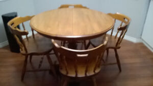 Maple Table with 4 chairs all wood