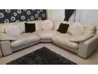 Soft cream leather corner sofa and chair