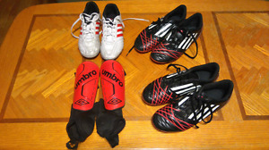 Boys youth soccer cleats and shin guards