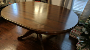 Pier One pedestal dining table with chairs