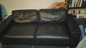Comfy black fake leather couch